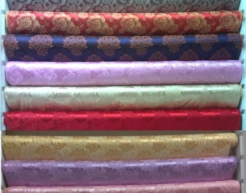 170*85 SILK COTTON JACQUARD WOVEN FOR BEDING F...