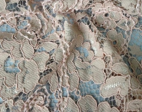 RASCHEL LACE EMB.WITH BEADS 51/52''